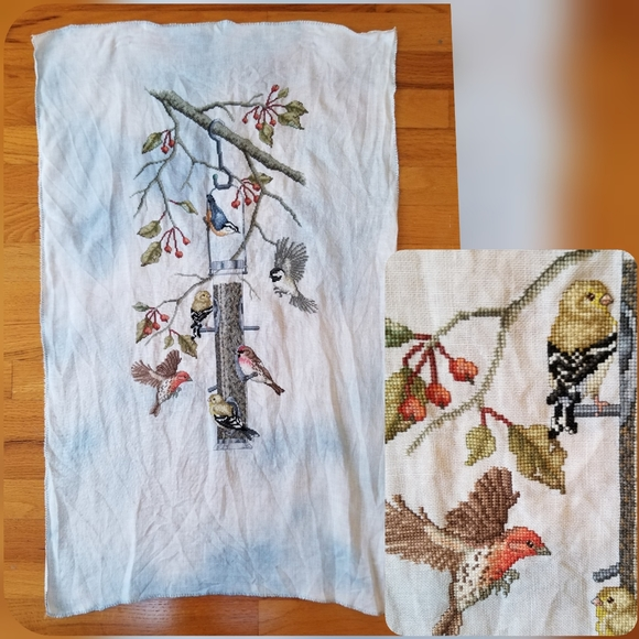 Vintage Other - Birds Feeder Cross stitch large picture Wall